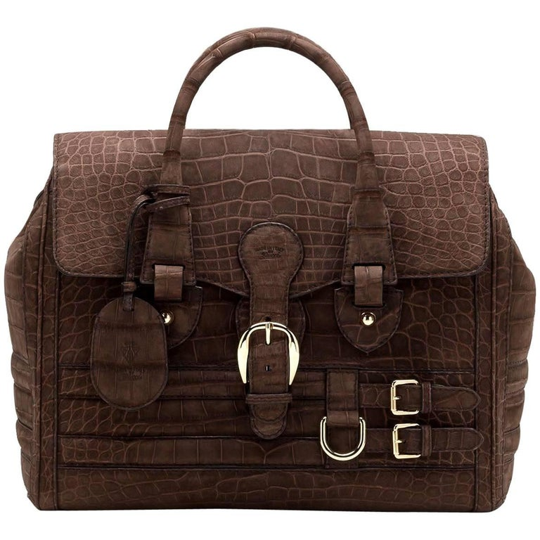 Gucci Matte Brown Crocodile XL Weekender Top Handle Bag