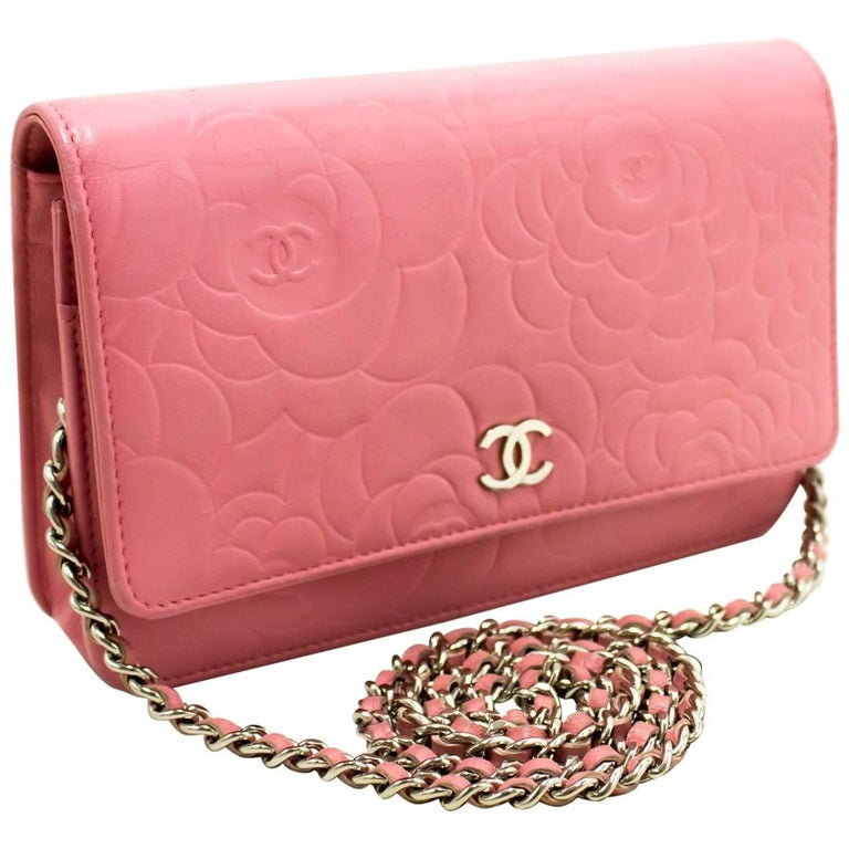 5c3958ae78a6 CHANEL Pink Camellia Wallet On Chain WOC Shoulder Bag Crossbody For Sale