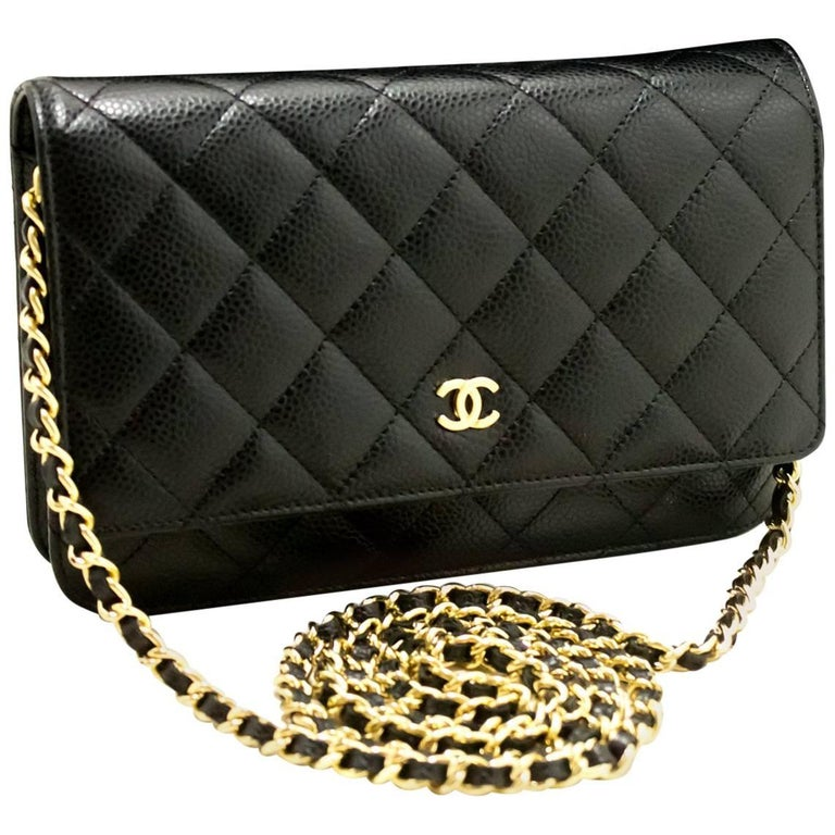 5741a7ee7cb588 CHANEL Caviar Wallet On Chain WOC Black Shoulder Bag Crossbody For Sale