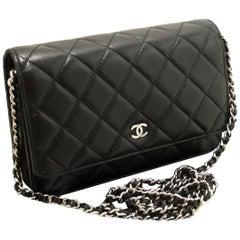 CHANEL Black Wallet On Chain WOC Shoulder Bag Crossbody Clutch