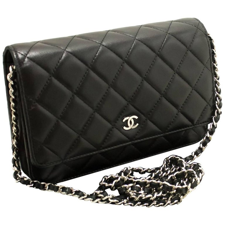03749183ef75 CHANEL Black Wallet On Chain WOC Shoulder Bag Crossbody Clutch For Sale