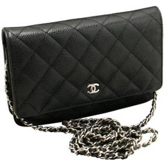CHANEL Caviar Wallet On Chain WOC Black Shoulder Bag Crossbody