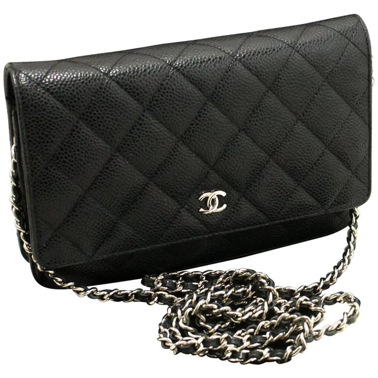 Chanel Caviar Wallet On Chain Woc Black Shoulder Bag Crossbody For