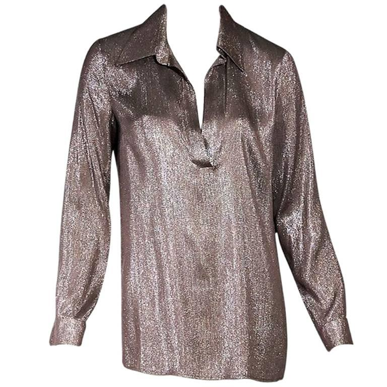 bf565a405dc3f Metallic Gucci Silk-Blend Pullover Blouse For Sale at 1stdibs
