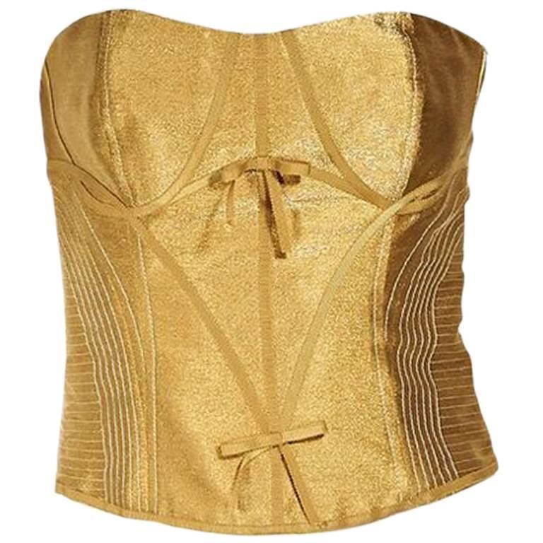 Metallic Gold Carolina Herrera Bustier Top