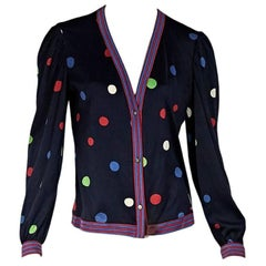Multicolor Vintage Leonard Paris Polka-Dot Cardigan
