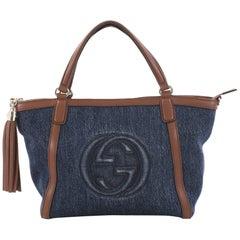 Gucci Soho Convertible Top Handle Bag Denim Small
