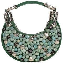 2000s Chloé Emerald Green Turquoise Silver Beaded Bracelet Bag