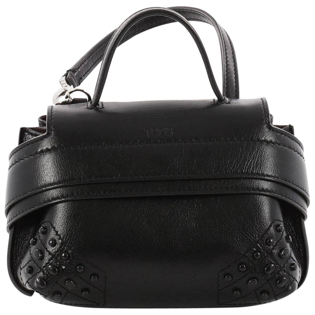 Tod's Studded Convertible Wave Charm Bag Leather 5A27Si7VeC