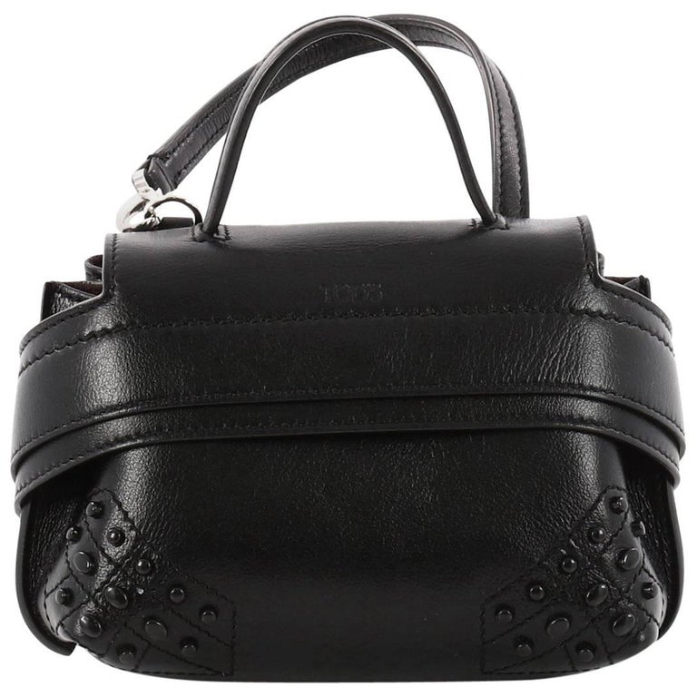 Tod's Studded Convertible Wave Charm Bag Leather