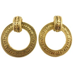 Chanel Large Baroque-Inspired Gold-Plated Hoop Earrings, 1980s