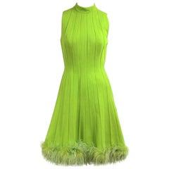 1960s Green Knit Ostrich Feather Dress Joseph Magnin