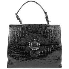 Prada Vintage Black Passementerie Alligator Bag With Silver Hardware