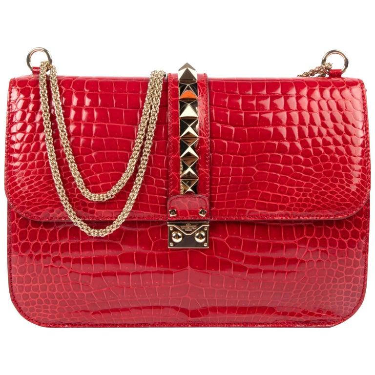 Valentino Rock Lock Large Lipstick Red Rouge Crocodile Crossbody Bag