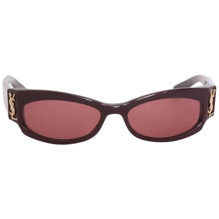 Yves Saint Laurent Pair of Burgundy Sunglasses, 1990s
