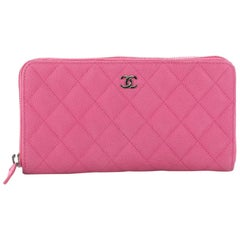 Chanel Zip Around Wallet Quilted Caviar Long
