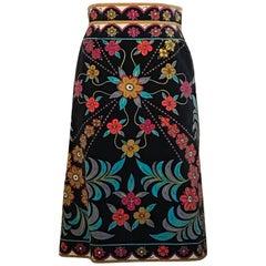 Emilio Pucci Vintage Velvet Floral Black and Multicolor Print Skirt, 1960s
