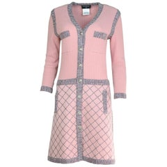 Chanel Pink Silk & Cashmere Sweater Coat Sz FR40 with Hanger