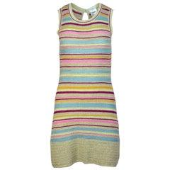 Chanel Tan & Multi-Colored Striped Knit Dress Sz FR36