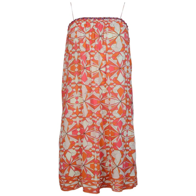Emilio Pucci Silk Orange Print Dress Sz 4