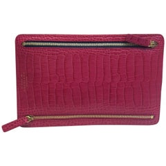 Smythson Fuschia Alligator Clutch