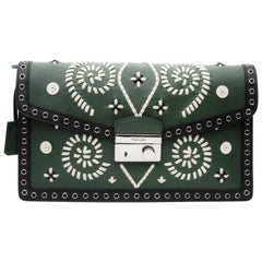 Prada Embroidered Green Saffiano Leather Clutch Bag