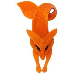 Lea Stein Orange Fox Brooch, circa 1970s
