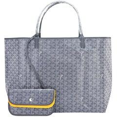 Goyard Grey St Louis GM Chevron Tote Bag