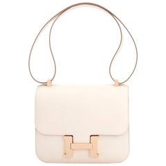 Hermes Constance MM 24 Bi-Color Craie Etain HSS Horseshoe Shoulder Bag Rose Gold