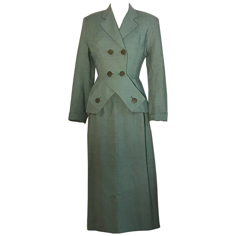 Schiaparelli Green Jacket and Skirt Suit Set with Crossover Detail, circa 1950