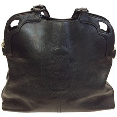 Cartier Black Leather Marcello Large Handbag