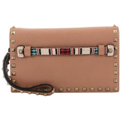 Valentino Rockstud Flap Clutch Beaded Leather Small