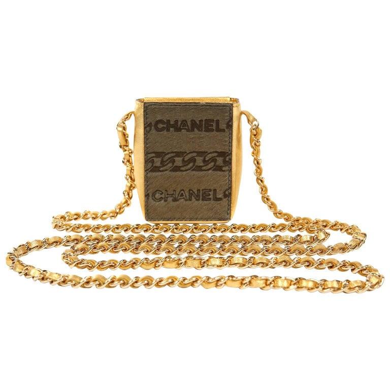Chanel Gold Mini Pochette Evening Bag