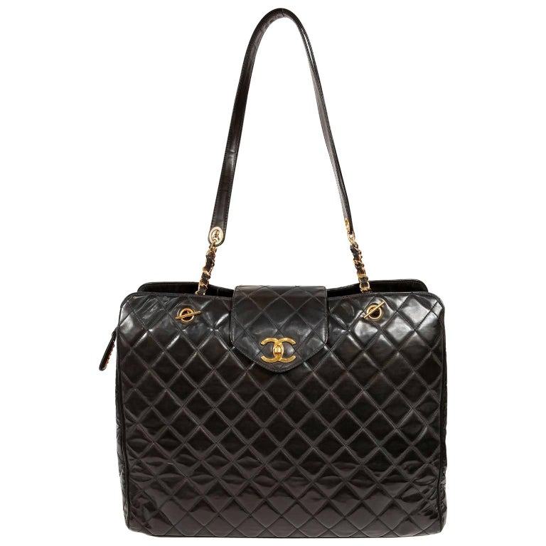Chanel Black Leather Super Model Vintage Weekender