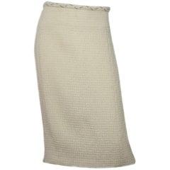 Chanel Cream Wool Skirt Sz FR46