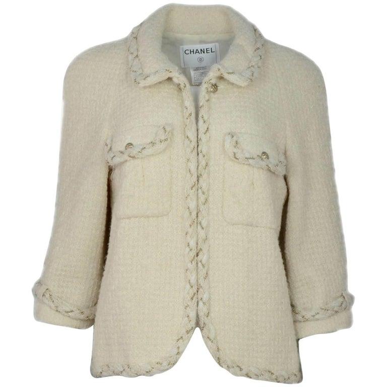 Chanel Cream Wool Jacket Sz FR46