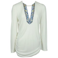 Emilio Pucci Ivory Silk L/S Top w/ Blue Print and Chain Detail - 40