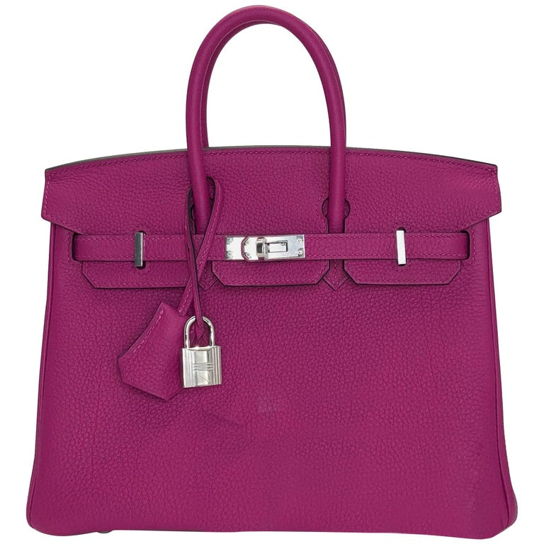 Hermes Rouge Pourpre Togo Leather Birkin 25 Bag with Palladium Hardware