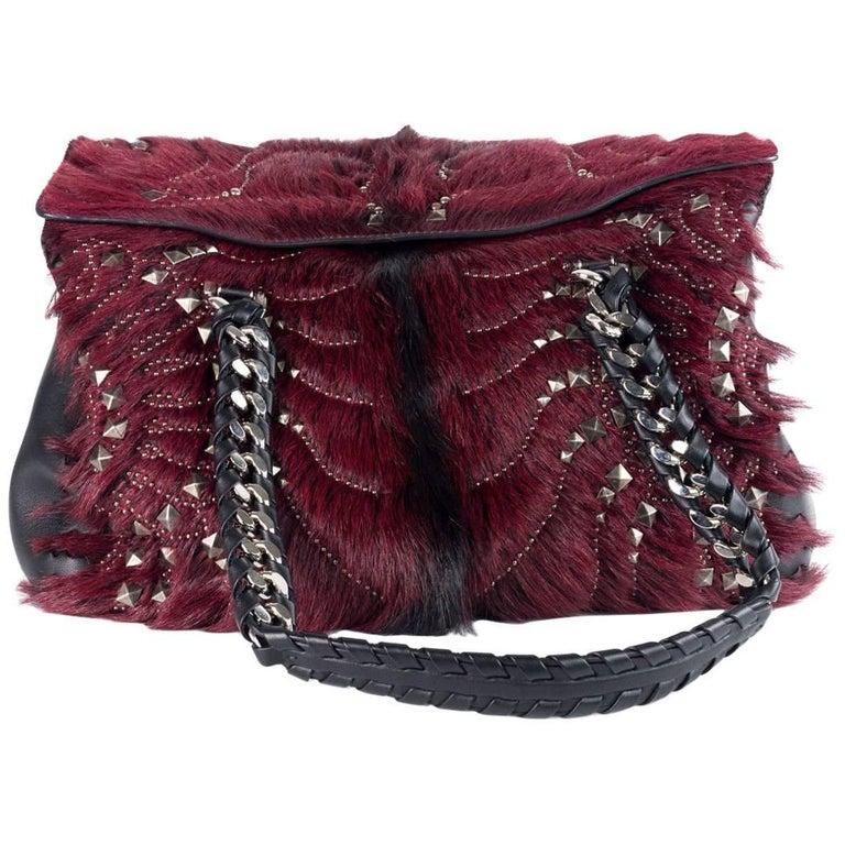 Roberto Cavalli Regina Medium Radiant Studded Red Black Leather Satchel