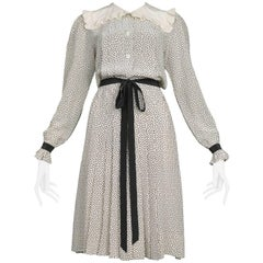 Vintage Yves Saint Laurent Polka Dot Ruffle Day Dress