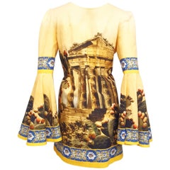 Dolce & Gabbana Mustard Linen and Cotton A Line Blouse with Kolymbetra Print