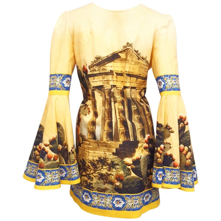 Dolce & Gabbana Mustard Linen and Cotton A Line Blouse with Kolymbetra Print For Sale