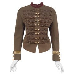 Gucci Prince Charming Green Military Style Jacket Intricate Metallic Embroidery