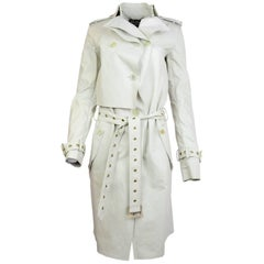Salvatore Ferragamo Beige Silk Trench Coat Sz IT38