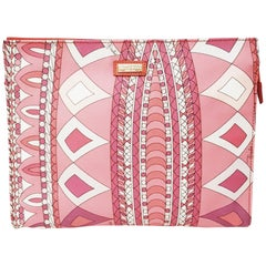 Emilio Pucci Pink Geometric Print  Design Clutch Bag with Top Zippered Closure