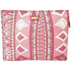Emilio Pucci Pink Geometric Print  Design Clutch Bag with Top Zippered Closure