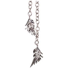 Roberto Cavalli Silver Chainmail Feather Charm Choker Necklace