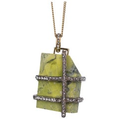 Roberto Cavalli Green Chiseled Marble Swavorski Gold Chain Necklace