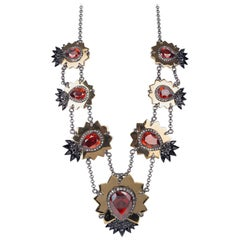 Roberto Cavalli Womens Swarovski Red Diamond Shaped Necklace