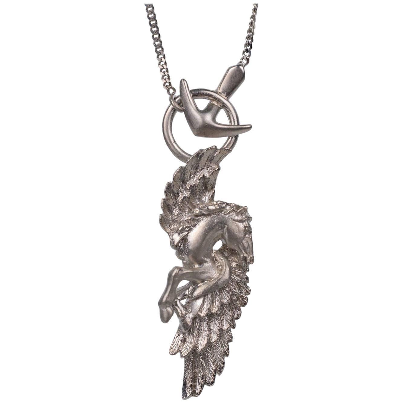 1stdibs Roberto Cavalli Silver Metal Serpent Pendant Chain Necklace 7LyH8